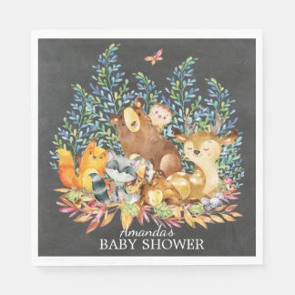 Woodland Animals Neutral Baby Shower Paper Napkins Paper Napkin