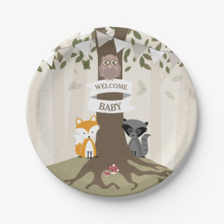 Woodland Animals Neutral Baby Shower Paper Plate