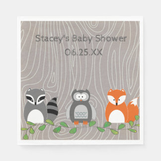 Woodland Animals Personalized Paper Napkins
