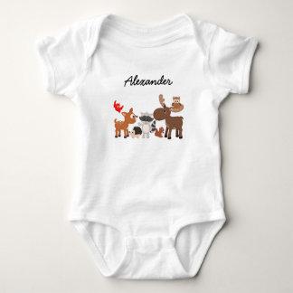 Woodland Animals personalized snap undershirt Baby Bodysuit