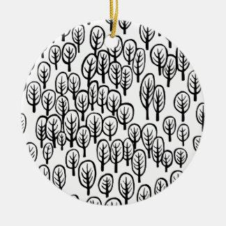 Woodland - B&W Round Ceramic Decoration