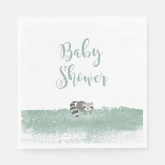 Woodland Baby Animals Greenery Baby Shower Napkins Disposable Serviette