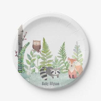 Woodland Baby Animals Greenery Monongram | Paper Plate