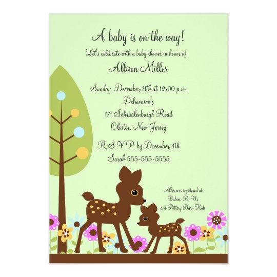 Woodland Baby Deer Baby Shower Invitation