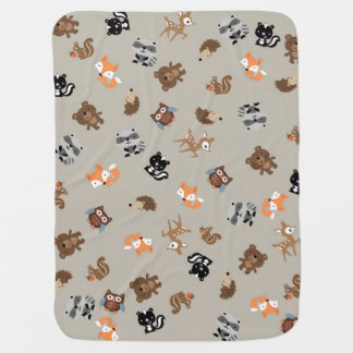 Woodland Baby Mash Up Blanket* Light Brown Receiving Blankets