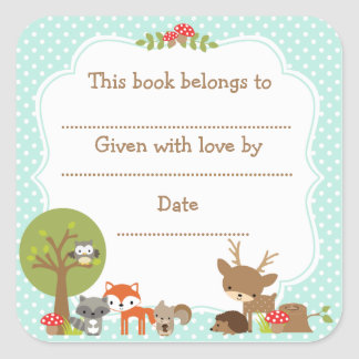 Woodland Baby Shower Bookplate sticker blue