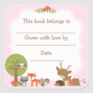 Woodland Baby Shower Bookplate sticker pink