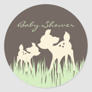 Woodland Baby Shower Classic Round Sticker