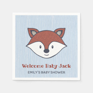 Woodland Baby Shower Cute Fox Favor Paper Goods Disposable Napkin