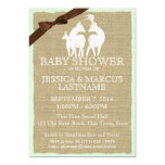 "Woodland Baby Shower Deer and Burlap 5"" X 7"" Invitation Card"