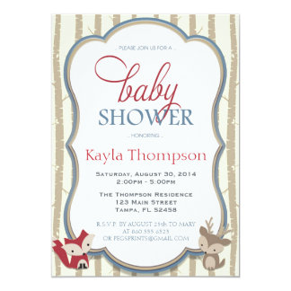 Woodland Baby Shower Invitation - Fox and Deer