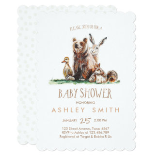 Woodland Baby Shower invite Watercolor Forest