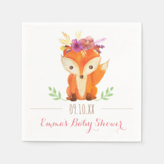 Woodland Baby Shower Paper Napkins - Girl Disposable Napkin