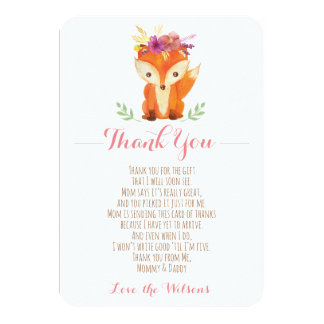 Woodland Baby Shower Thank You Card - Girl