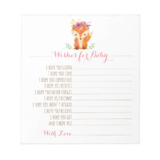 Woodland Baby Shower Wishes for Baby - Girl Notepad