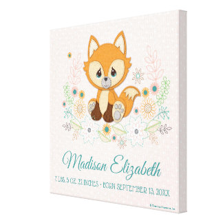 Woodland Baby Sweet & Clever Fox Design Canvas Print