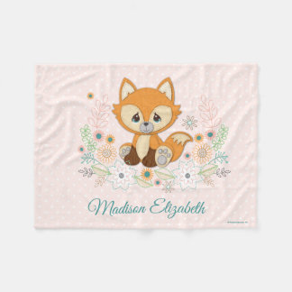 Woodland Baby Sweet & Clever Fox Design Fleece Blanket