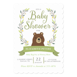 Woodland Bear Baby Shower Invitation