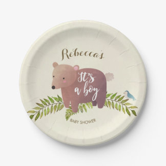 woodland bear baby shower paper plate its a boy