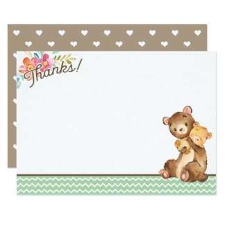 Woodland Bear Baby Shower Thank You Card