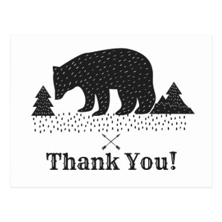 Woodland bear thank you card