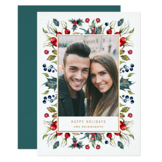 Woodland Berries Frame Holiday Photo Card