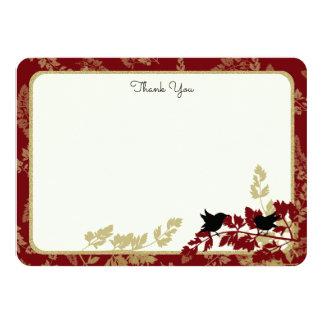 Woodland Birds and Foliage Flat Card Thank You 11 Cm X 16 Cm Invitation Card