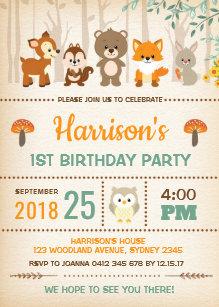 woodland birthday invitations zazzle com au