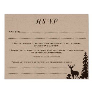 Woodland Brown Kraft Customised Wedding RSVP Card