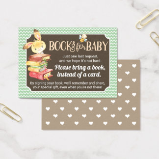 Woodland Bunny Baby Shower Book Request Insert