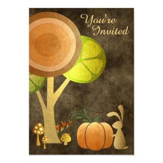 Woodland Bunny Gold Autumn Baby Shower Invitation