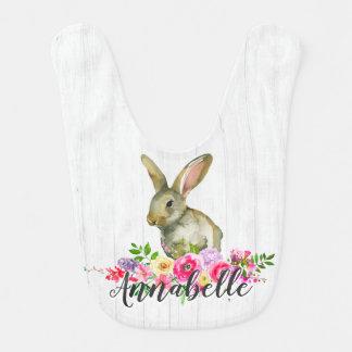 Woodland Bunny Rabbit Watercolor Floral Baby Monog Bib