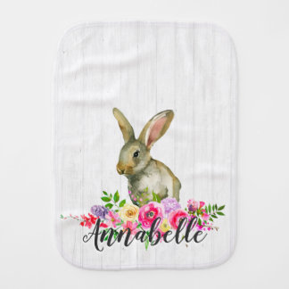 Woodland Bunny Rabbit Watercolor Floral Baby Monog Burp Cloth