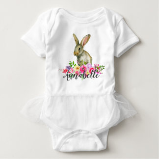 Woodland Bunny Rabbit Watercolor Floral Monogram T Baby Bodysuit