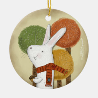 Woodland Bunny with Acorn Ceramic Ornament