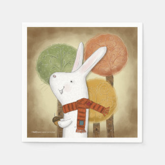 Woodland Bunny with Acorn Disposable Serviette