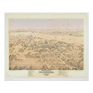 Woodland, CA. Panoramic Map (1874A) Poster