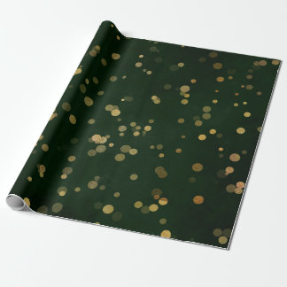 Woodland Cali Deep Green Forest Golden Confetti Wrapping Paper