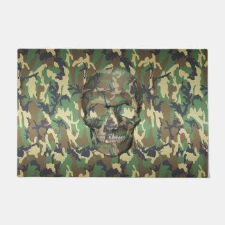 Woodland Camo 3D Skull Camouflage Pattern Doormat
