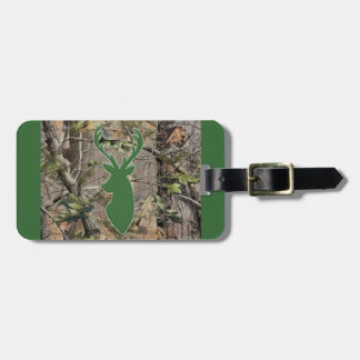 Woodland camo green deer head luggage tag