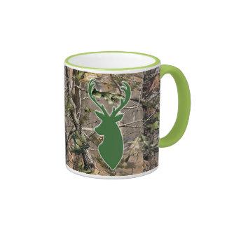 Woodland camo green deer head ringer mug