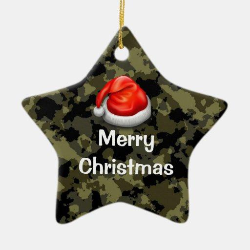 Woodland Camo Star Merry Christmas Ornament
