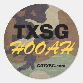 woodland camo TXSG, HOOAH, GOTXSG.com Round Sticker