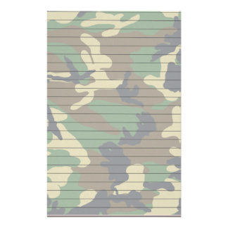 Woodland Camo With Lines Stationery