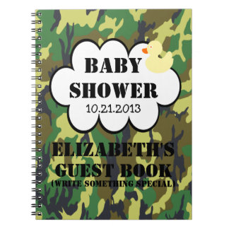 Woodland Camouflage Baby Shower Guestbook Notebook