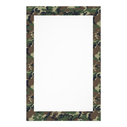Woodland Camouflage Background Template Stationery Paper