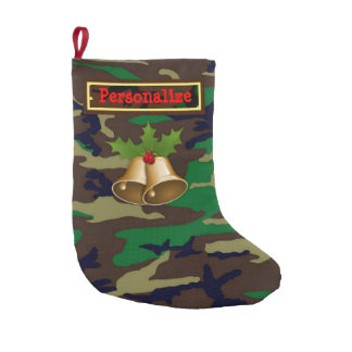 Woodland Camouflage Christmas Stocking with Bells
