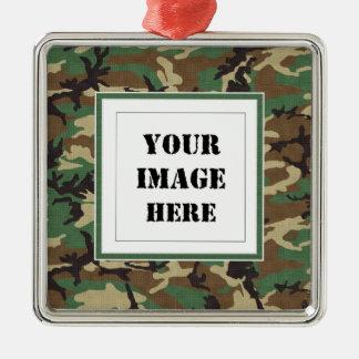 Woodland Camouflage Custom Photo Ornament