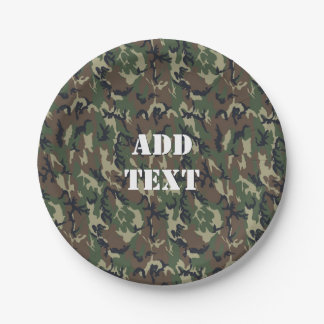 Woodland Camouflage Military Background 7 Inch Paper Plate