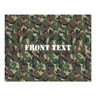 "Woodland Camouflage Military Background 4.25"" X 5.5"" Invitation Card"